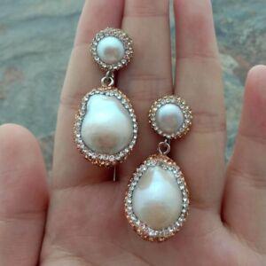 White Keshi Pearl CZ Stud Earrings