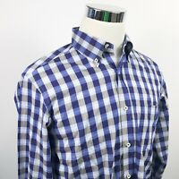 Massimo Dutti Mens Casual Fit Shirt Blue Gray Checker 100% Cotton Button Down