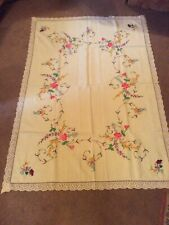 """More details for vintage embroidered tablecloth large 67"""" x 46"""" approximately"""