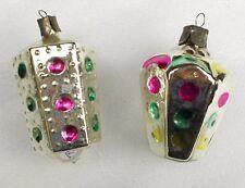2 Vintage Silver Glass  Weihnachten Ornament Christmas Tree Traffik-Lights