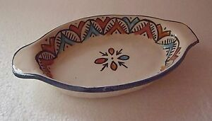 HAND PAINTED CERAMIC HORS D'OEUVRE DISHES * MOROCCAN POTTERY *