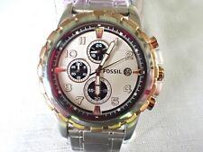 Fossil Dean Chronograph Panda White Dial SS Men's Watch FS4722 45mm