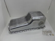 62-82 SBF Ford Polished Aluminum Oil Pan Retro Finned Front Sump - 260 289 302