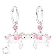 """Sterling Silver Pink Crystal w/ Unicorn on 1/2"""" Endless Hoop Kids Earrings 3544"""