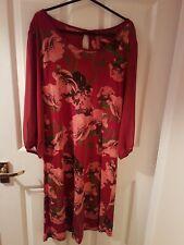Next Size 10 Deep Red Floral Dress