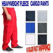 MEN'S CARGO SWEAT PANTS TRACK FLEECE HEAVY WEIGHT SIZE S-4XL WARM UP BASKETBALL