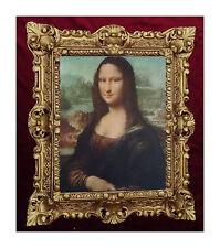 Gemälde Mona Lisa Bild mit Bilderrahmen BAROCK Antik look 45x38 cm Bilder Gold -