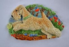 Wheaten terrier. Summer! Handsculpted ceramic wall plaque.Small.   .OOAK .LOOK
