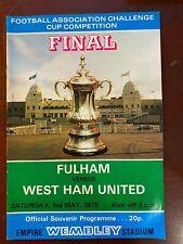 Football programme Fulham v West Ham United 3/5/1975  FA CUP FINAL