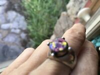 Modernist Colorful Roman Glass 925 Sterling Silver Artisan Ring Sz 6.5
