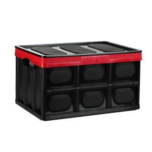 55L Collapsible Storage Bins with Lids Folding Plastic Stackable Utility Crates