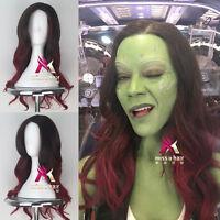 Guardians of the Galaxy Gamora Long Wavy Black Red Color Cosplay Halloween Wig