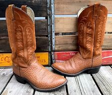 JUSTIN Rust Brown Suede & Water Buffalo Leather Cowboy Boots Women's 8 Wide