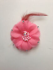 7 cm fabric stamen Flower Head Silk With Rhinestone Feather for Decoration