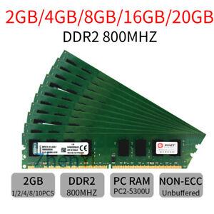 20GB 16GB 8GB 4G 2G KVR800D2N6/2G PC2-6400 DDR2 800 Desktop RAM For Kingston LOT