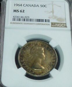 1964 CANADA SILVER HALF DOLLAR -  NGC GRADED - 50 CENTS  MS62