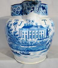 Large Antique Staffordshire J T Manor House Blue Transfer 4 Qt Pitcher 1800-1830