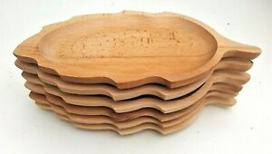 "Wooden plate set of six 13,5"" long medieval serving plate  beech wood"