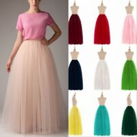 Long Women Tulle Tutu Skirt Petticoat Wedding Prom Dresses Ball Gown 6 Layers