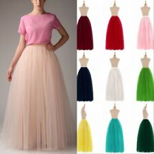 Long Women Tulle Tutu Skirt Petticoat Wedding Prom Dresses Ball Gown 6 Layers