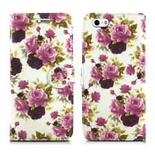 Leather Luxury Wallet Book Flip Phone Protect Case for Apple iPhone 6 6s Purple Roses - Plum Bloom White Cream Nature