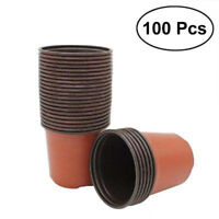 100Pcs Plastic Nursery Pot Seedlings Flower Plant Container Garden Seed ~T