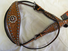 CIRCLE Y FLARED BROW HEADSTALL-TOPAZ/BROWN CRYSTALS--NEW WITH TAGS