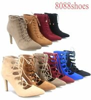 Women's Sexy Pointed Toe Lace Up Stiletto High Heel Bootie Shoes Size 5 - 10 NEW