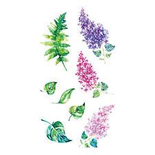 Waterproof Temporary Fake Tattoo Stickers Cute Purple Pink Flowers Green Leaf
