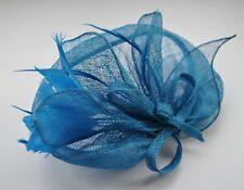 eab6af1c86c2e Sinamay & feather fascinator. Teal blue hair clip/black head band. Wedding/