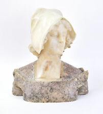 19th/20th C. Italian Marble Bust Sculpture Beautiful Young Woman Wearing Cap