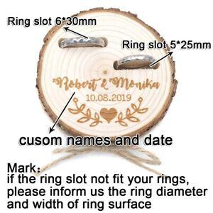 Rustic Wood Log Wedding Bands Holder Sliced Bridal Proposal Customized Ring Box
