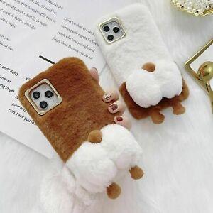 3D Corgi Dog Fluffy Plush Phone Case For iPhone 11 12 Pro Max XR XS X 6 7 8 SE