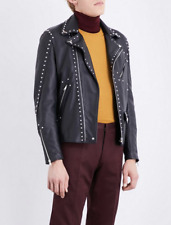 NWT Paul Smith Mens Black studded Lamb Leather jacket L MADE IN ITALY £2295
