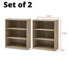 3-Shelf Bookcase Bookshelf Book Holder Storage Organizer Book Shelving Unit 2 pc