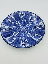 ANTIQUE JAPANESE ARITA MEIJI BLUE & WHITE PORCELAIN PLATE DISH FLORAL GEOMETRIC