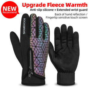 ROCKBROS Winter Bicycle Gloves Touch Screen Skiing Bike Gloves Windproof Warm