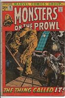 """Marvel Comics Monsters on the Prowl #15 Feb. 1972 VG """"The Thing Called It!"""""""