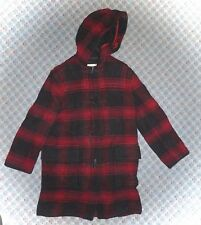 J CREW - RED PLAID BLANKET-WOOL HOODED TOGGLE JACKET/COAT - MISSES XS