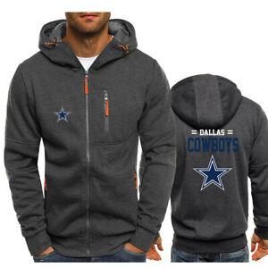 Dallas Cowboys fan Hoodie Football Hooded Sweatshirt Fleece Coat Full-Zip Jacket