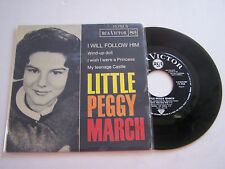 EP 4 TITRES VINYL 45 T , LITTLE PEGGY MARCH , I WILL FOLLOW HIM . VG++ / EX