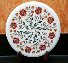 12 Inches Marble Sofa Side Table Top Inlay End Table with carnelian stone Work