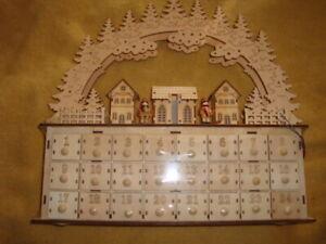 NEW Martha Stewart Steinbach Inspired Carved Wood LED Advent Calendar 24 Drawers