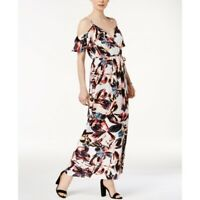 Bar III Womens Floral Cold Shoulder Maxi Wrap Dress Size Large NEW