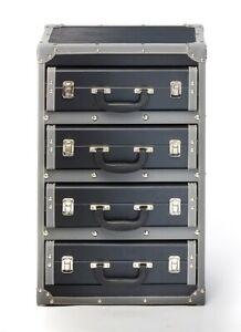 Kofferregal Regal in Kofferoptik - schwarz - 4 Fächer - 40x30x63 cm