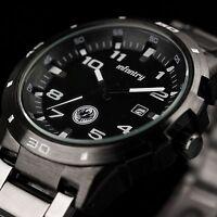 INFANTRY Mens Date Quartz Wrist Watch Sport Army Gunmetal Black Stainless Steel