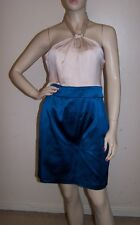 BELLE BY OASIS MARINE BLUE & TAUPE  HALTER NECK FITTED DRESS SIZE 12