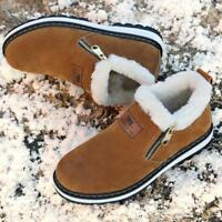 Men's Winter Fur Lined Hiking Shoes Snow Walking Outdoor Casual Sneakers New Y1