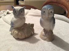 PAIR OF VINTAGE PORCELAIN OWLS BY M. REQUENA, VALENCIA, SPAIN