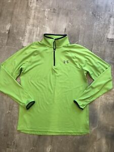 Under Armour Run Men's Med Fitted Coldgear 1/4 Zip L/S Pullover  Neon Green